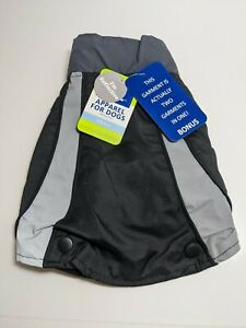 NEW TopPaw Black Reflective Dog Coat Small Jacket Two Piece Vest NWT S