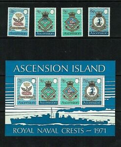 Ascension Is: 1971, Naval Crests, (3rd issue)   MNH set + M/Sheet