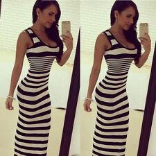 Summer Women Maxi Sundress Party Beach Sleeveless Vest Strips Casual Long Dress
