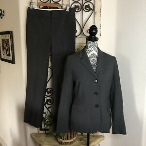 Banana Republic gray pin striped wool blend blazer and trousers suit 6