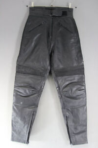 PROTO BLACK COWHIDE LEATHER BIKER TROUSERS SIZE 12: WAIST 26IN/INSIDE LEG 27.5IN