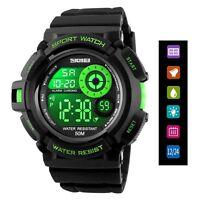 Waterproof Men's Boy LED Silicone Digital Stopwatch Date Sport Alarm Wrist Watch