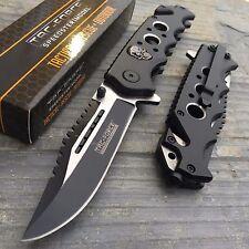 TAC-FORCE Skull & Silver Eyelet Hunting Tactical Rescue Pocket Knife TF-809BK