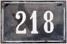 Large old black French house number 218 door gate plate plaque enamel metal sign