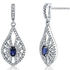 14K White Gold Created Sapphire Chandelier Earrings 0.50 ct