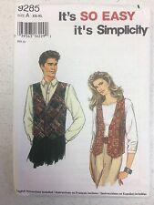 Simplicity #9285 Misses', Men's, and Teen Vest - Sizes XS-XL