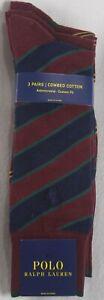 Polo Ralph Lauren 3 Pairs Burgundy Navy Dress Socks Custom Antimicrobial NWT