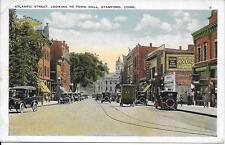 Atlantic St lookig to town hall Stamford CT 1933 nice postcard not postally used