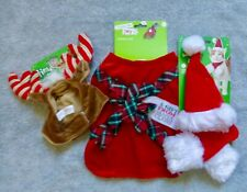 NEW Cat or Small Girl Dog 3 Items Christmas Costumes Dress, Hat/Scarf, Headpiece