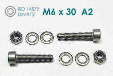 Schraube DIN 912 M6x30 Edelstahl A2 + Mutter M6 A2 + 2x U-Scheibe A2 /  1 STÜCK