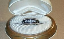 Helzberg Mens 10k white gold black 1/8ct diamond wedding band ring $399 HDS