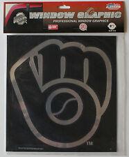 Licensed MLB Window Decal Milwaukee Brewers Chrome Vintage Logo Large