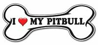 I Love My Pitbull Red Heart Bone Dog bumper sticker decal white premium vinyl