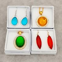 4 Gift Boxed Vintage Glass Cabochon Pendants & Earrings - Blue Green Red Yellow