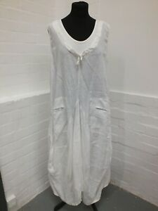 Made In Italy White Linen Dress Lagenlook Size XL Front Pockets (Hol)