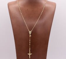 "2mm 27"" All Shiny Medal Cross Rosary Chain Necklace 10K Tricolor Yellow Gold"