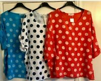 Italian Oversized Layering Lagenlook Lightweight Cotton Polka Dot Spotted Top
