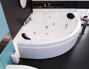 "Indoor LED Whirlpool ""Italian"" 150 x 150 cm 2 Personen Eck Badewanne Whirlwanne"
