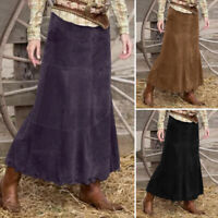 UK Womens Casual Loose Fit High Waist Skirts Corduroy Long Maxi Dress Plus Size