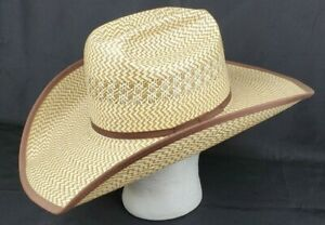 American Hat Company Para Panama Straw Cowboy Hat 7 1/2 Two Tone USA Excellent
