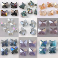 Lot 10Pcs Faceted Butterfly Glass Crystal Loose Spacer Beads Jewelry Making DIY
