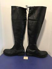 New Black OTK FIORENTINI & BAKER Elena Tall Leather Boots 38 Flat Round Toe F48
