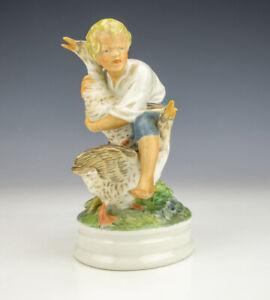 Royal Copenhagen Porcelain - Boy & Geese Birds Figurine