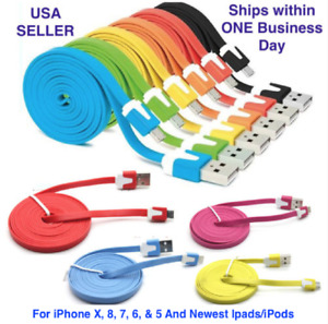 USB Cable Charger For Phone 12, 11, X, 8 7, 6, & 5  Flat Cord Lot