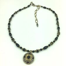 Michal Golan Necklace MODERNIST Black Brass Beaded w/ Charm Signed