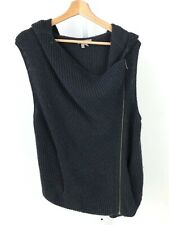 HELMUT Lang Asymmetric Moto Zip Sleeveless Hooded Cardigan Sweater Black Size M