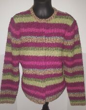 Talbots snap button cardigan sweater womens size XL multicolor striped wool