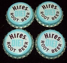 Lot of 4 Vintage Hires Diet Root Beer Unused Soda Pop Bottle Caps Cork Lined