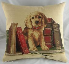 "18"" Golden Retriever Bookends Puppy Dog Belgian Tapestry Cushion Evans Lichfield"