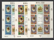 DIANA - Belize - 1982 MATCHED NUMBER sheets 0f 6- (SC 618-20X6)- MNH-A698