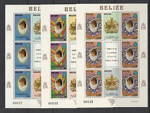W576  Belize 1982  Diana  MATCHED NUMBER sheets  MNH