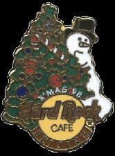 Hard Rock Cafe BEIJING 1998 Christmas PIN Snowman & XMAS Tree Logo - HRC #1129
