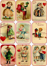 Vintage antique set 1 Valentine small note tags cards scrapbooking crafts set 9