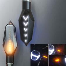 2x Amber Motorcycle LED Turn Signal Flowing Indicator Light White Daytime Runing