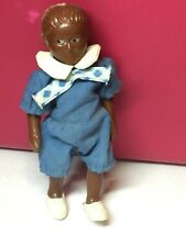 """Antique Vintage Celluloid 5"""" African American Black Figure Boy In Blue Outfit"""