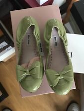 Genuine Miu Miu Green Patent Flat Sandals Elastic Back With Box Size 37