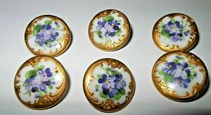 A BEAUTIFUL SET OF 6 ANTIQUE HAND PAINTED PORCELAIN BUTTONS GOLD AND VIOLETS