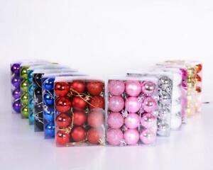 24Pcs/lot Christmas Tree Ball Bauble Small Hanging Xmas Party Ornament Decor 3cm