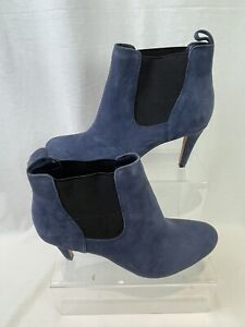 Clarks Somerset Women's Heels Size UK7 D Ankle Boots Suede Blue Stretch M787
