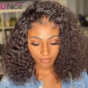 "Brazilian Short Bob Water Wave Lace Closure Human Hair Wigs Pre Plucked 10"" Full"