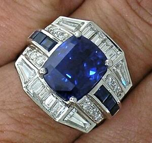 9.61 Carat Sapphire and Vivid White Sapphire With 925 Silver Men's Wedding Ring
