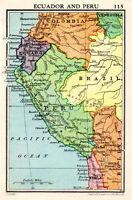 Map Of Ecuador & Peru Brazil Colombia Chile John Bartholomew Vintage 1951