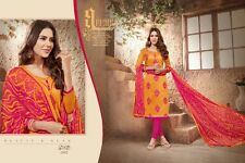 Designer Churidar Salwar Kameez Suit Cotton Dress Material Chanderi Work AKIRA02