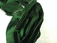 "5 Yards Green 5/8"" HANK FRENCH Vintage Silk Rayon Satin Back Velvet Ribbon"