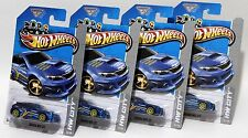 SUBARU WRX STI * LOT OF 4 * 2013 HOT WHEELS * BLUE w/ 10-SPOKE WHEELS VARIATION