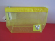 Disney Mickey Mouse Make Up Vinyl Yellow Mesh Zippered Bag New